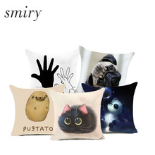 Smiry Cute Cartoon Polyester Cushions Anime Panda Dog Throw Pillowcase for Living Room Couch Car Seat Decorative cojines(China)