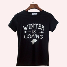 Hot bodybuilding Women T-Shirt Winter Is Coming letter Print Tops for lady fashion brand harajuku tee shirt femme punk 2017