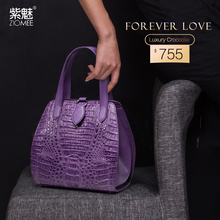 ZIOMEE ladies luxury handmade crocodile genuine leather tote bag women fashion customized purple alligator shell party handbag