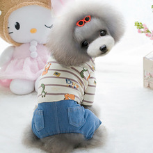 Cute dinosaur dog denim coat jacket Dog pet cat hoodie jumpsuit Jeans pant clothing winter cotton Chihuahua small dog clothes