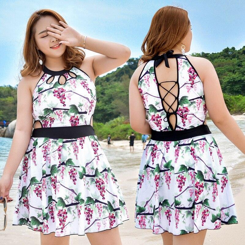 Bikini Girl Swim Suit Wear Woman Push Up Swimwear One-Piece Swimsuit 2017 Fringed Shawl Fat Big Printing Skirt Traje De Bano<br>