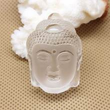 KYSZDL Natural white crystal carved Buddha pendant men and women patron saint crystal jewelry free necklace rope(China)