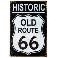 HISTORIC OLD ROUTE 66 NEON SIGN Metal Tin Road Plaque for shop bar pub wall painting SPM13-2 20x30cm B1