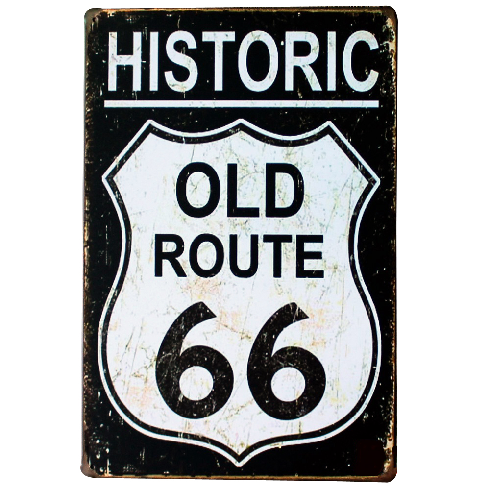 HISTORIC OLD ROUTE 66 NEON SIGN Metal Tin Road Plaque for shop bar pub wall painting SPM13-2 20x30cm B1(China)