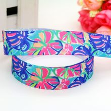 7/8'' Free shipping flowers lily printed grosgrain ribbon headwear hair bow diy decoration wholesale OEM 22mm B1431(China)