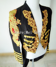 Men Plus size black Tuxedo long slim jacket Magic garbage royal marriage male singer performance laciness tuxedo formal dress