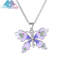 Miss Lady fashion Crystal Color butterfly Necklace Women Summer Beach Jewelry Statement Jewelry Art Deco Necklace MLDZ007(China)