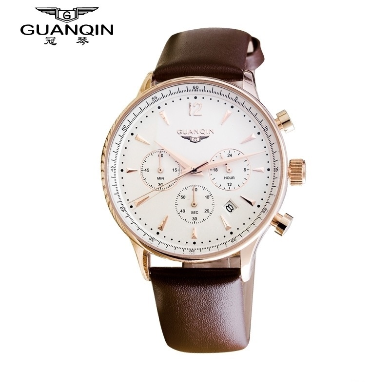 Luxury Brand GUANQIN Watch Men Quartz Sport Chronograph Watches Auto Date GUANQIN Dress Military Watches Man Leather Sale Watch<br>