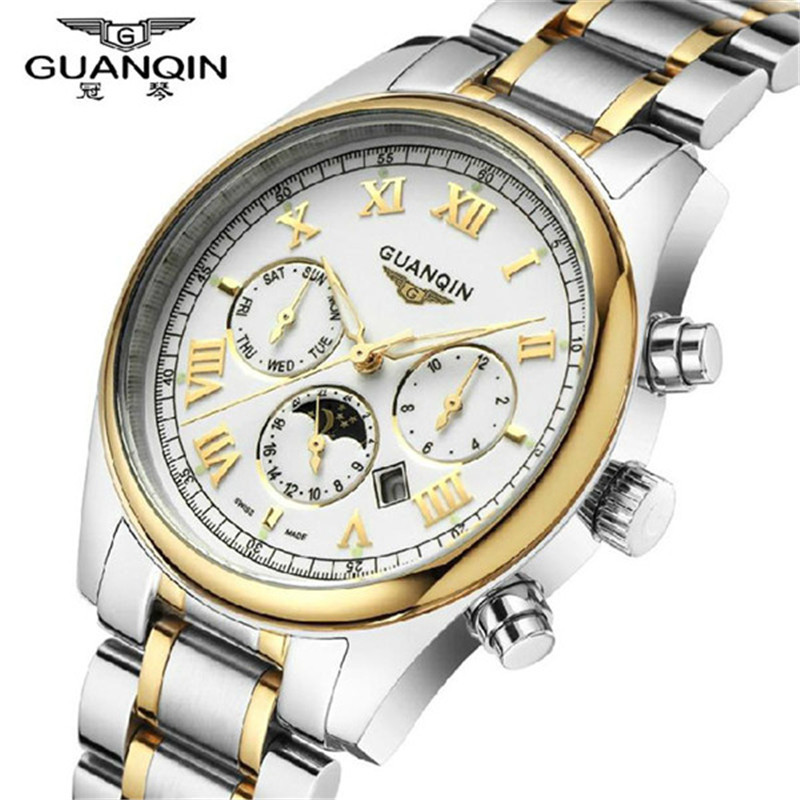 Mens Watch Top Brand Luxury Guanqin Casual Quartz Watch Waterproof Business Watches Stainless steel relogio masculino relojes<br>