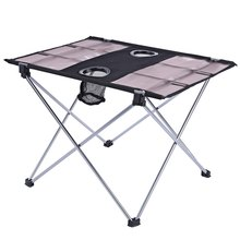 Stable Portable Outdoor Table Oxford Fabric Ultralight Foldable Table for Camping Fishing Picnic Aluminum Alloy Holder