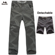 MAZEROUT Men New Summer Fishing Outdoor Trekking Hiking Quick Dry pant Camping Trousers Travel Sports Plus Size Detachable P20