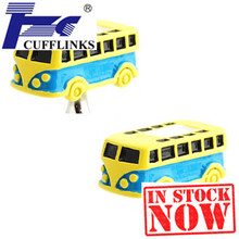 Yellow Bus Cufflink Cuff Link 2 Pairs Free Shipping Promotion(China)