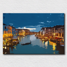 Italy city canvas pictures oil painting modern canvas art city scenery pop art wall picture for living room(China)