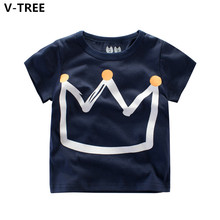 V-TREE Boys Girls Short Sleeve T Shirts Summer Baby Crown TShirts Children Casual T-Shirts Toddler Teenagers Sweatshirts