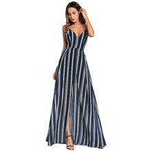 Buy Striped Maxi Dress Open Back Chiffon Spaghetti Beach Dress Split Sexy Women Dresses Floor Length V-neck Party Club Clothes for $33.87 in AliExpress store