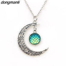 P625 dongmanli 2017 fashion woman charm Mermaid Fish scales sparkling Pendant necklace Vintage jewelry(China)