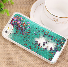 Luxury Glitter Liquid Sand fashion Quicksand Star Transparent Case for iphone 4 4S 5 5S SE 6 6S Plus Clear Hard Cover