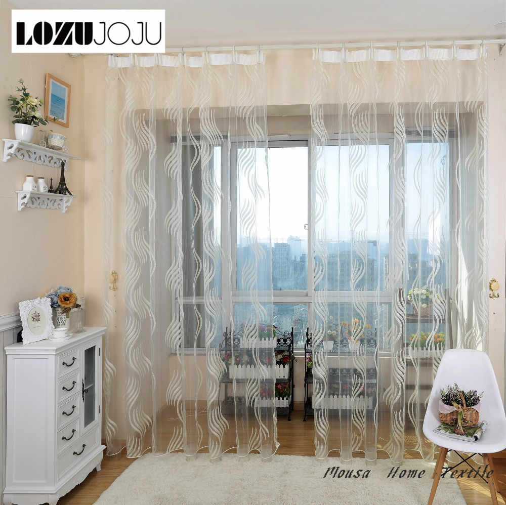 LOZUJOJU Striped tulle curtains for windows blinds balcony organza sheer curtains