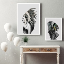 Native American Girl Wall Art Canvas Prints Poster , Home Living Room Indian Women Canvas Painting Wall Picture Art Decoration(China)