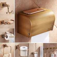 Brass Antique Bathroom Toilet Paper Box Holder Artistic Bathroom Accessory Hooks Soap Dish Towel Holder Free Shipping