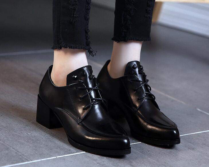 Women Chunky Heel Lace Up Black PU Leather Shoes Pointed Toe New 2017 Ladies Thick Heel Riveted Pumps Soft Bottom<br>