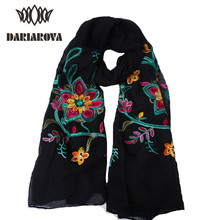 2017 Women's Autumn Cotton Linen Scarf Floral Embroidery Scarves and Shawls Female Ethnic Long Scarf Wrap Women Bandana Muffler