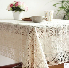 Weaven crocheted Home hotel dining cotton Table Cloth Rectangular Tablecloth to table covers home decoration(China)