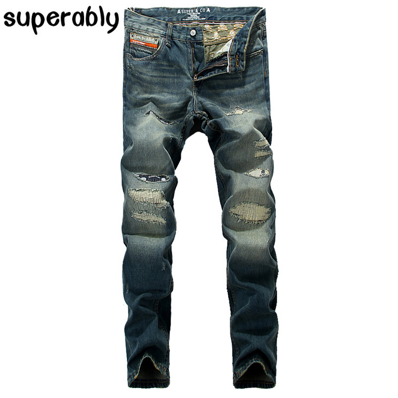 Superbaly Brand Jeans Men Distressed Trousers High Quality Straight Fit Designer Men Jeans 100% Cotton Ripped Jeans Patch PantsОдежда и ак�е��уары<br><br><br>Aliexpress