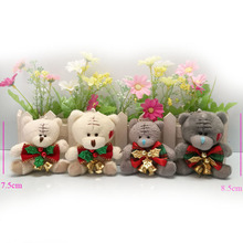 7.5cm 8.5cm Christmas Stuffed plush Toys teddy bear, soft toys for cartoon bouquets ,Christmas plush teddy bear 10 piece/lot