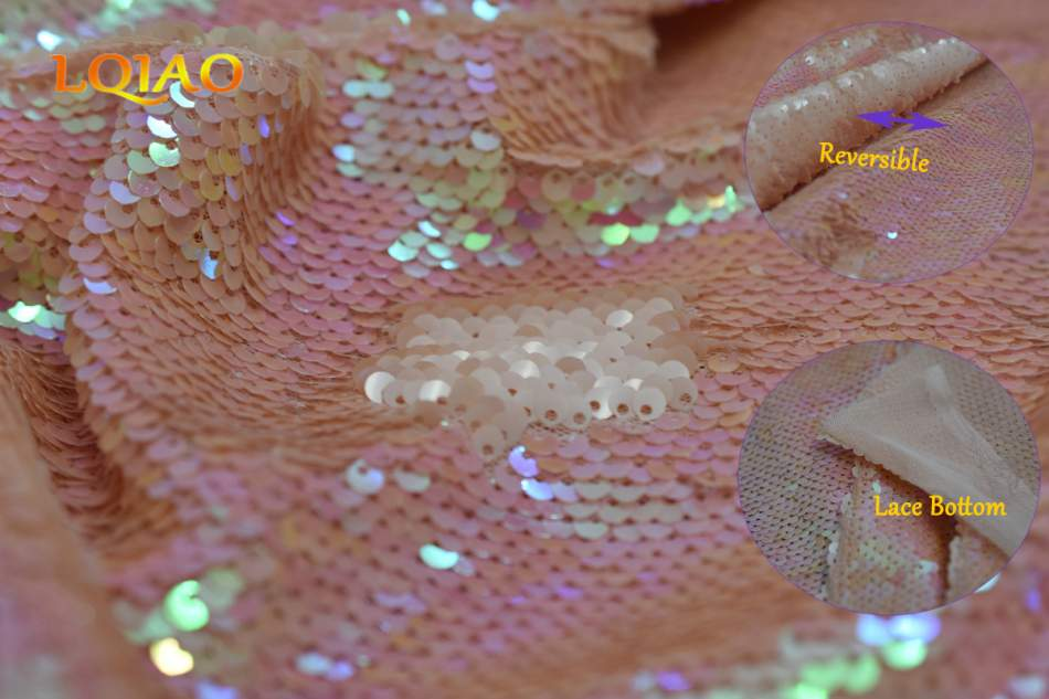 changed peach reversible sequin fabric