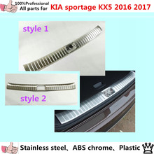 High Quality Car outside external Bumper trim Stainless Steel Scuff Sill trunk plate pedal 1pcs For Kia Sportage KX5 2016 2017(China)