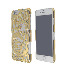 Luxury Artistic Flower Carving Plating Cooling Back Case For iPhone 6 6S 4.7 inch Hollow-Out Plastic Phone Cases Cover(China)