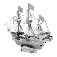 Golden Hind Magnetic Jigsaw Puzzles Stainless Steel DIY Assembly Ship Educational Kids Toys 3D Metal Puzzle For Children