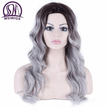 MSIWIGS Long Hair Synthetic Wavy Wigs for Black Women Heat Resistant Natural Afro Full Black Silver Ombre Wig