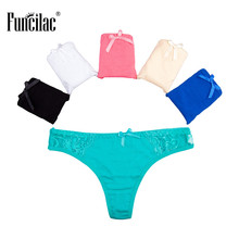 Buy FUNCILAC Underwear Woman Lace Thong Sexy Briefs Lingerie Girls Solid Panties Cotton G String Underpants Women 5Pcs/Lot