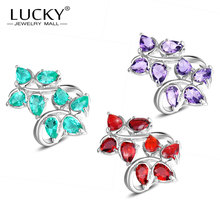 Lucky Mall New Arrival 8X leaf Shaped Red & Purple & Green Synthetic Crystal Sets Jewelry Girlfriends Classic Party Bijoux
