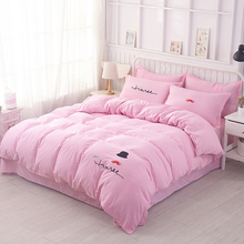 Pink cute Home House wares Bedding Orange pattern 4Pcs Duvet cover Bed sheet Pillowcase quilt cover Pillowcaseed bed linen(China)