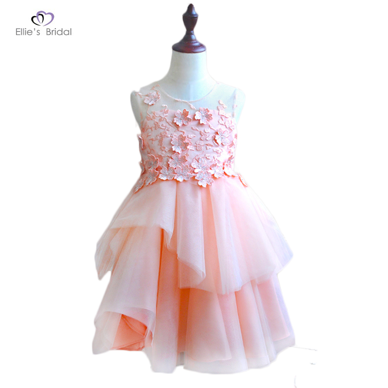 Ellies Bridal 2018 New Pink Lace Girl Dresses Flower Appliques Flower Girl Dress Kids Evening Gowns For Wedding First Communion <br>