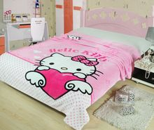 pink Hello Kitty Polka Dot Blankets Throws Bedding 150*200CM Size Baby Kid Girls Children's Bed Home Bedroom Decoration Flannel