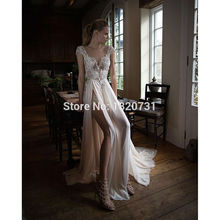 2017 Vestido De Noiva Embroidered Lace On Net Wedding Dresses Sexy V-Neck High-Slit See Through Back Cap Sleeve Bridal Gown