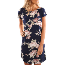 YJSFG HOUSE Vintage Women Summer Floral Print Mini Beach Dress Casual Sexy Short Sleeve Loose Straight Dress Ladies Party Dress