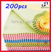 200pcs 14x14cm Colorful glasses Lens Eyeglasses eyewear microfiber cleaning cloth Free Shipping(China)