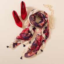 Elegant Women Scarves Red Print Ladies Shawl with Floral Soft SilK Scarf Retro Style for Women dy-F31