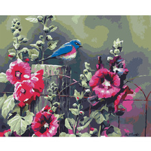 Frameless DIY Oil Painting By Numbers canvas wall art living room wall pictures Coloring By Numbers Flower bird painting decor