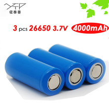 Brand YTP 2016 New Update 3 pcs/set 26650 li-ion Rechargeable battery 3.7V 4000mAh Long Life For Led Flashlight Torch PK Samsung
