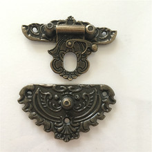 Antique Latches Catches Hasps Solid Clasp Buckles Agraffe Small Lock For Wooden Box Hardware,55*48mm
