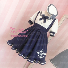 Kawaii Girls Sailor Collar Navy Style Short Sleeve Summer Dress Anchor Embroidery Bowknot Pin Cute Preppy Style One Piece(China)