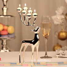 Creative Silver plated deer shape metal candle holder candlestick holder, 6-arms candelabra with 18pcs free candles(China)