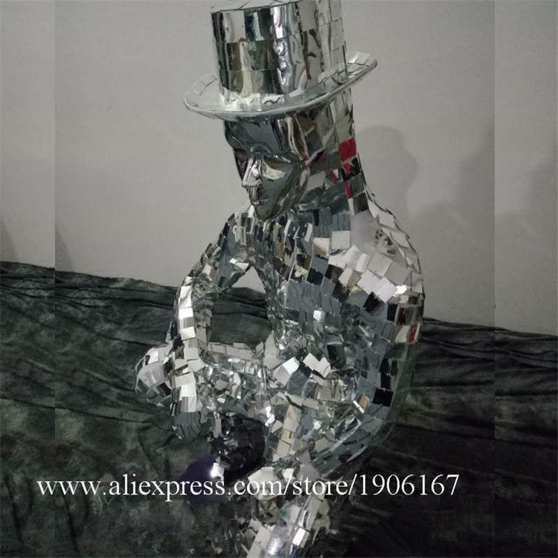 Men Silver Color Catwalk Show Stage wear Ballrooom Costume Mirror Cloth Party Christmas Performance DJ Singer Clothes Suit01