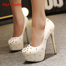 sexy pump shoes Stiletto heels Women Shoes High Heel pumps Rivets black heels Leather Prom Shoes Woman white wedding shoes Y744